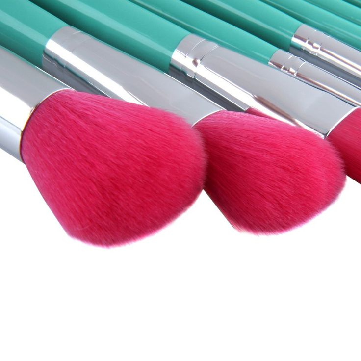 hot pink makeup brushes. mint green and hot pink : 2014 new ovonni® starter kit, 9 pcs travel · essential makeup brushesblush brushes