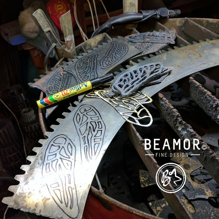 Down in the shed this morning cutting out some #dragonflywings.  #etsystore  #beamorfinedesign #findamaker #metalart #gardenart