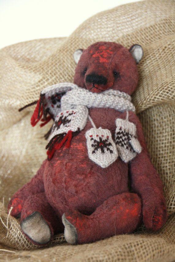 Artist Bear winter Cranberry 32 cm by NatashaMurasha on Etsy