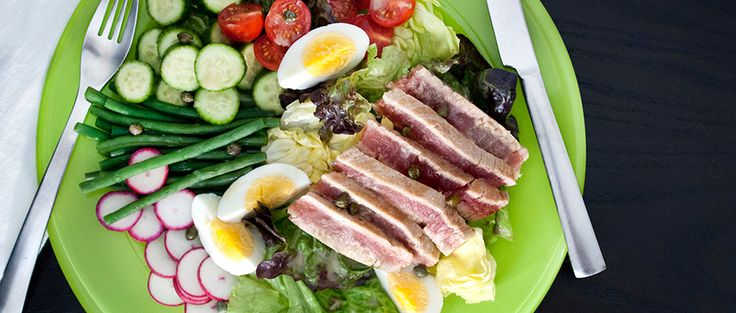 Fresh tuna, eggs and plenty of colorful vegetables make up this hearty, protein-packed seared tuna nicoise salad recipe.