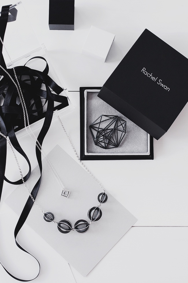STRUCTURE BROOCH | DOUBLE CUBE PENDANT | ORB NECKLACE by RACHEL SWAN photography ©MIJA | Mia Josefsson