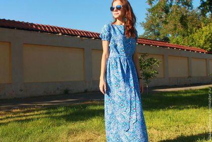Купить или заказать Длинное платье в пол 'Сказка Востока' в интернет-магазине на Ярмарке Мастеров. Красивое летнее платье в пол из натуральной ткани, расцветки 'пейсли'. Приталенное с потайной молнией, с рукавом-фонарик на резиночке. К платью прилагается пояс.