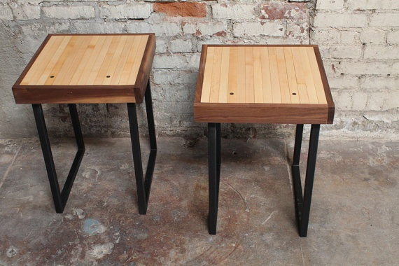 Reclaimed Bowling Lane End Table Set by The Mason Dixon on Etsy,