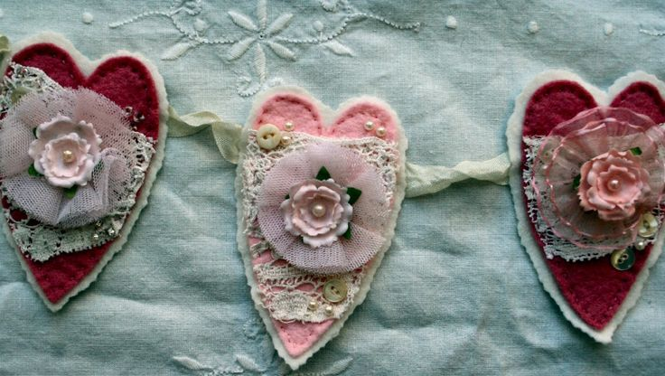 Shabby Heart Garland tutorial and templete
