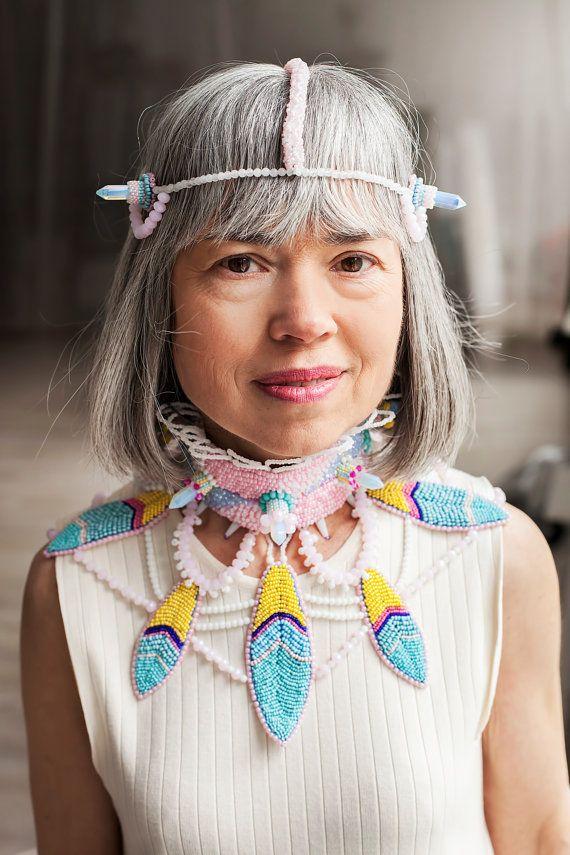 Ethnic jewelry pink feather choker crystal choker opal choker