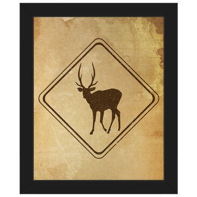 """Click Wall Art 'Deer Sign Stained' Framed Graphic Art on Canvas Frame Color: Black, Size: 10"""" H x 8"""" W x 1"""" D"""