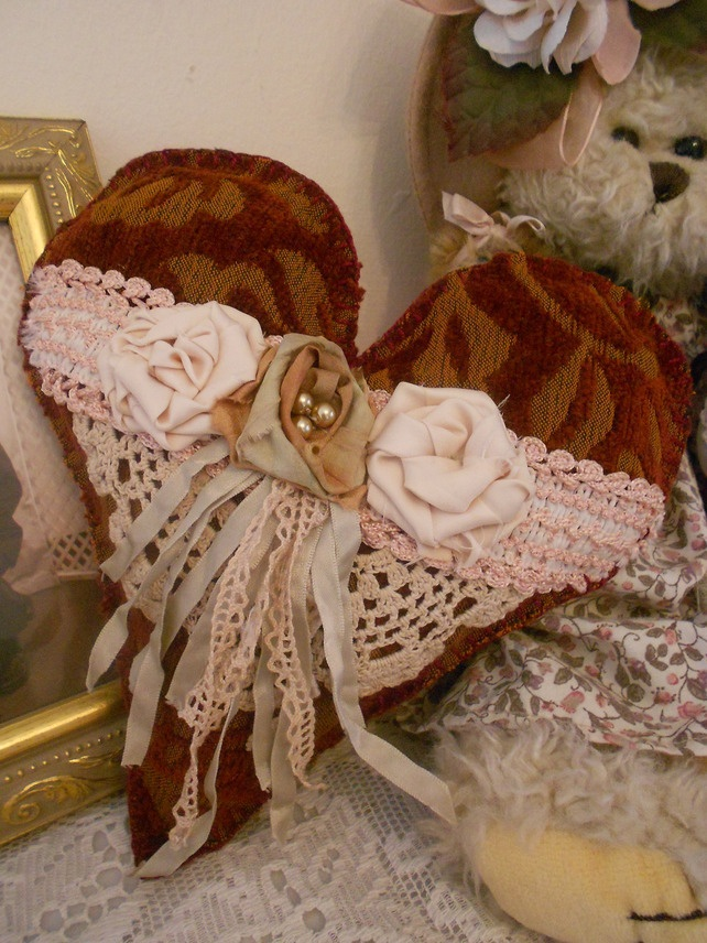Victorian vintage style heart cushion with lace, satin and silk roses