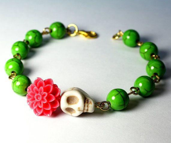 Day of the Dead Green Magnesite Peach Mum Frida Kahlo by Exgalabur, $18.00