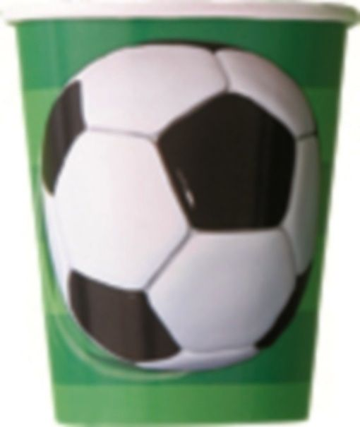 Soccer Football Black White Party Paper Cups - 8 Pack