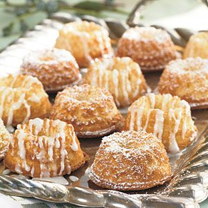 Baby Pound Cakes | MyRecipes.com  Enjoy these pound cake bites for breakfast or as a late-night snack by the fire, or split and toast them with butter. Vanilla bean paste, which can be found at specialty food stores, gives these cakes a sublime goodness. And just as with classic pound cake, we loved the crusty top edges on these, too. #dessert #recipes