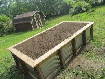 Raised planter box with corrugated metal woodworking projects plans for Corrugated metal raised garden beds