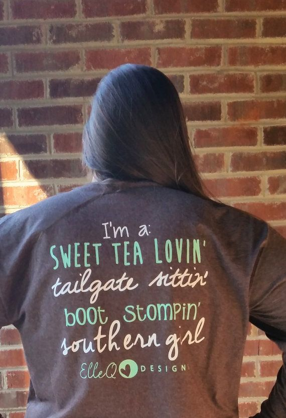 Monogrammed Southern Girl Long Sleeve Shirt. by ElleQDesigns