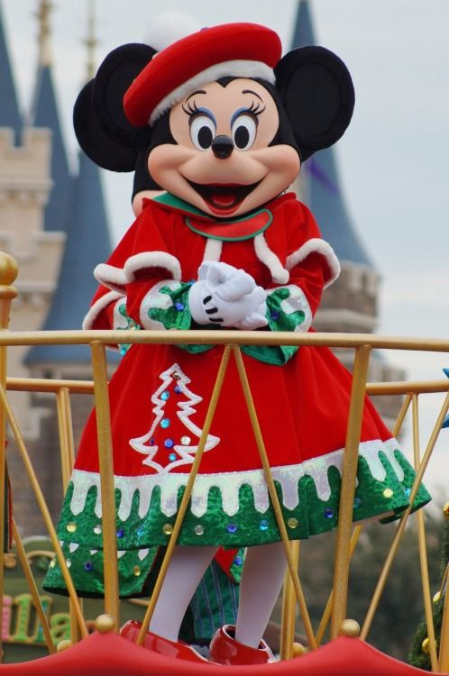 minnie all dressed up for Christmas .