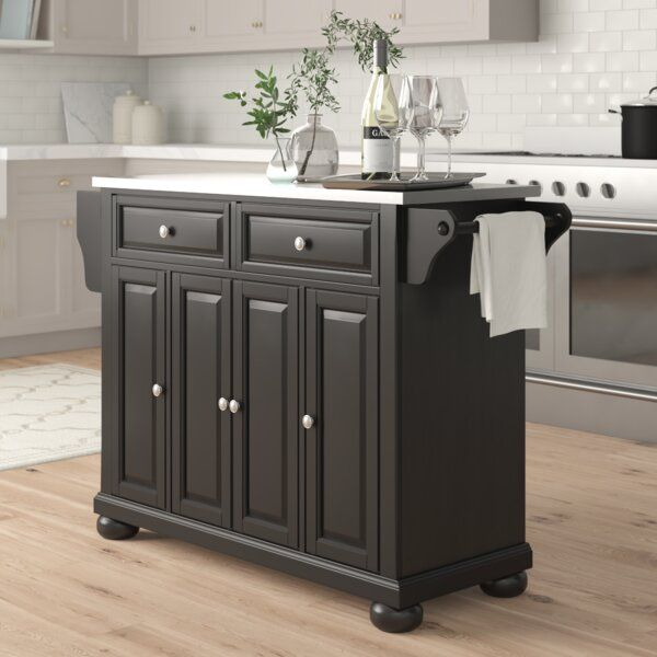 Three Posts Hedon Kitchen Island With Stainless Steel Top Reviews Wayfai Kitchen Island With Granite Top Stainless Steel Kitchen Island Kitchen Island Tops