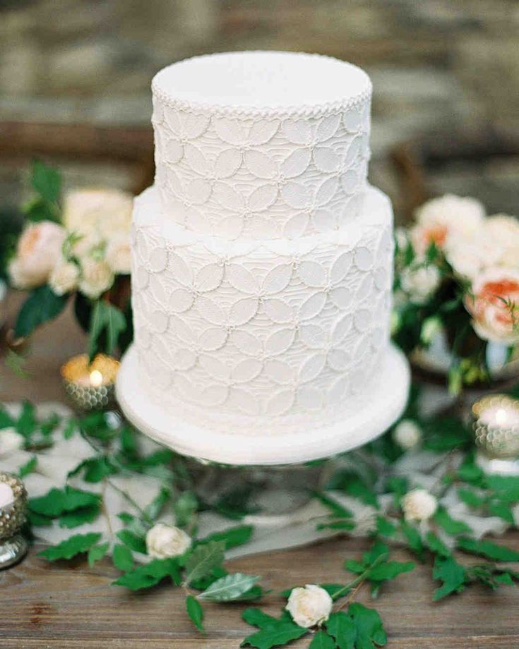 Wedding Cake Design Ideas That'll Wow Your Guests | Martha Stewart Weddings - Let your wedding dress inspire your reception's pièce de résistance, like the lace texture on this tiered white wedding cake. #weddingcakes #weddingideas
