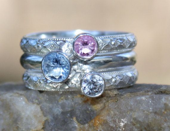 Birthstone Stacking Ring 3 Family & Mother's by sherisdesigns, $140.00
