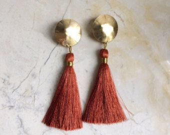 Brick Red and Gold Tassel Earrings