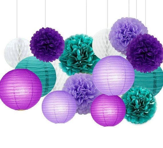 18c1a20b362 15pcs Mixed Purple Lavender and Teal Blue Tissue Paper Pom Poms Paper  Lanterns Honeycomb Balls Birth in 2019
