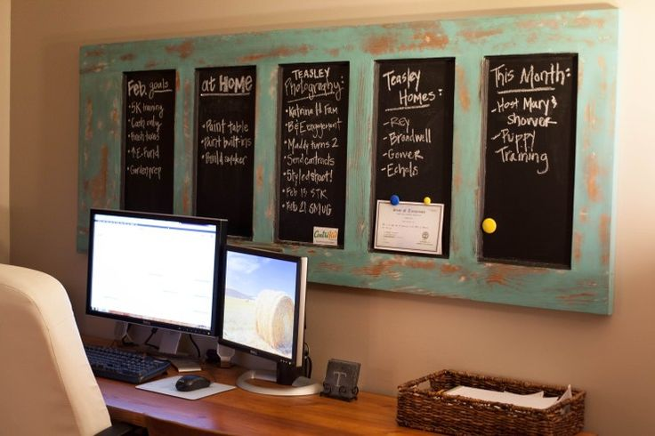 In our home office, we have a handmade pine desk, that Nic made from some reclaimed wood. We wanted a desk that was large enough for us to work side by side, but that also matched our antique armoi…