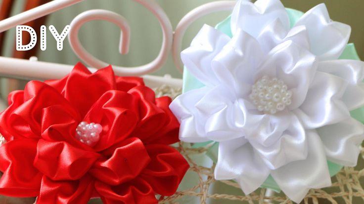 Бант Цветок из ленты. Мастер-класс / Tutorial: Ribbon Bow-Flower/ Kanzas...