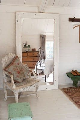 large floor mirror, wall leaning mirror, shabby chic, white