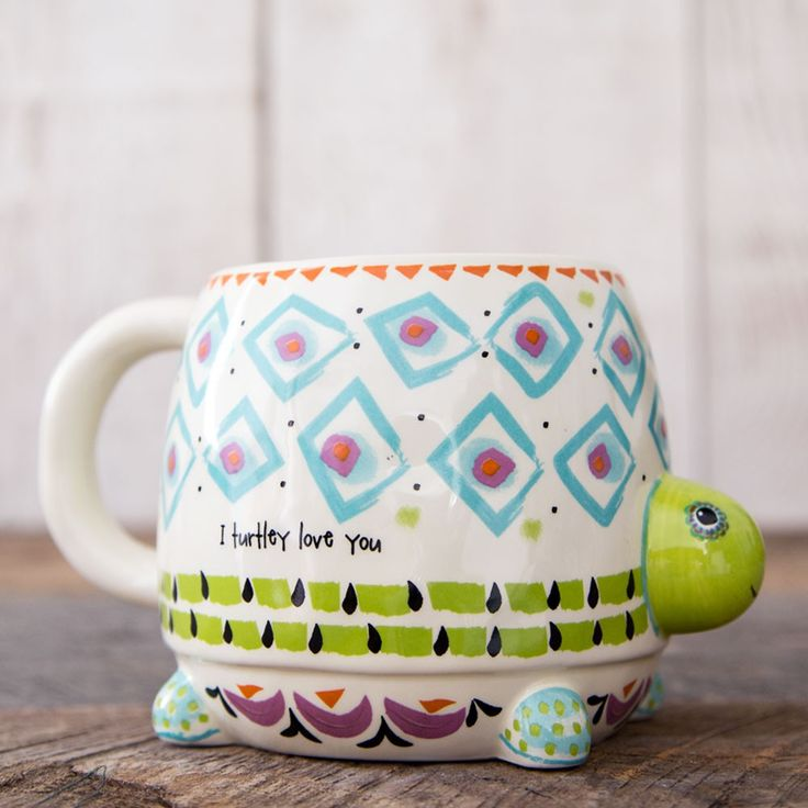This folk mug will have you smiling every time you drink from it! I turtely love you!