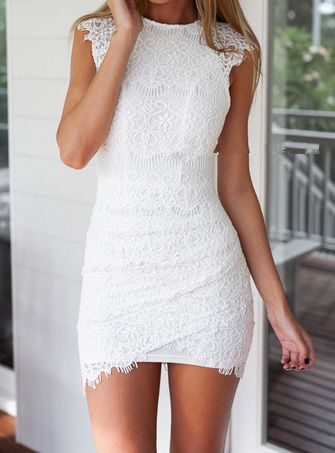 This would be perfect under an organza skirt for the perfect transformer wedding gown Round Neck Lace Bodycon Dress