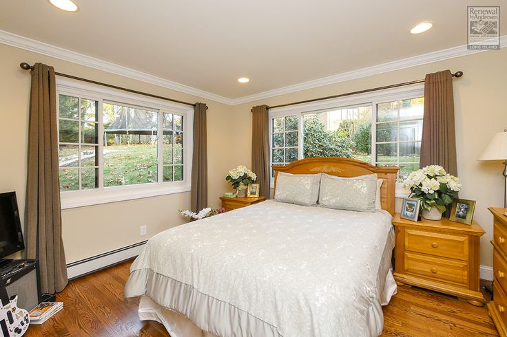 What a sharp looking bedroom with large new windows we just finished installing this month!  . . . . .  Home Remodeling / Home Renovation / Home Improvement / Sliding replacement windows from Renewal by Andersen Long Island