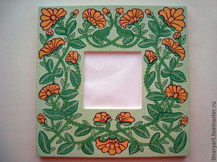 Купить Два зеркала в расписной раме Крыжовник и Бархатцы - мятный, зелёный крыжовник, оранжевые цветы