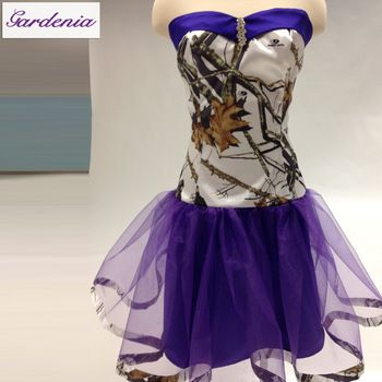 Real Pictures Camo Short Dress A-line SAweetheart Neck Lace-up Back Purple Camo Homecoming Dress