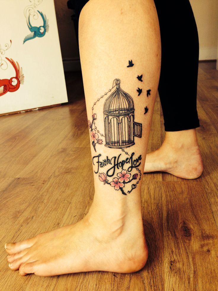 Bird-cage tattoo Mini bird cage with birds and faith, love hope. Tattoos bird-cage ladies tattoos