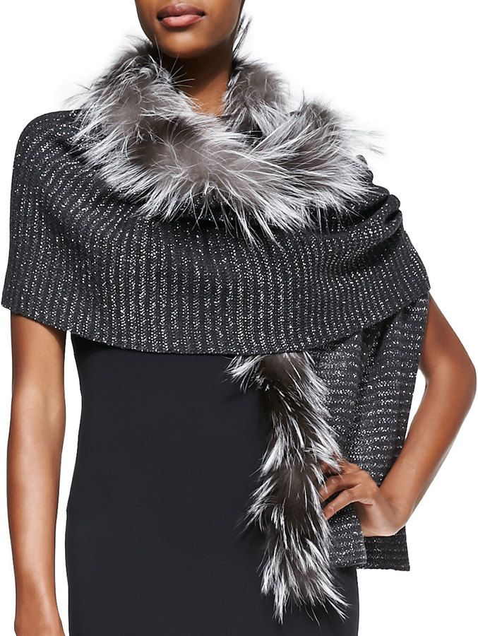 Jimmy Choo Knit Scarf with Fox Fur Trim, Gray on shopstyle.com
