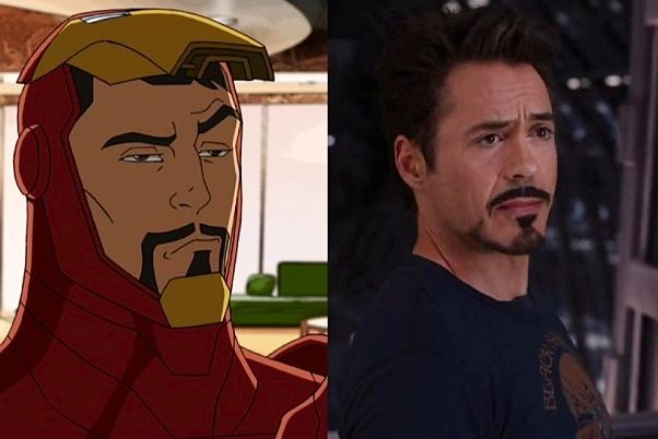 Avengers Assemble Tony Stark and MCU Tony Stark giving their respective Steve Rogers the same 'really' expression.