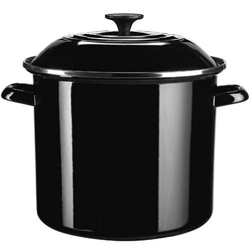 Le Creuset Enamel-on-Steel 6-Quart Covered Stockpot, Black Onyx