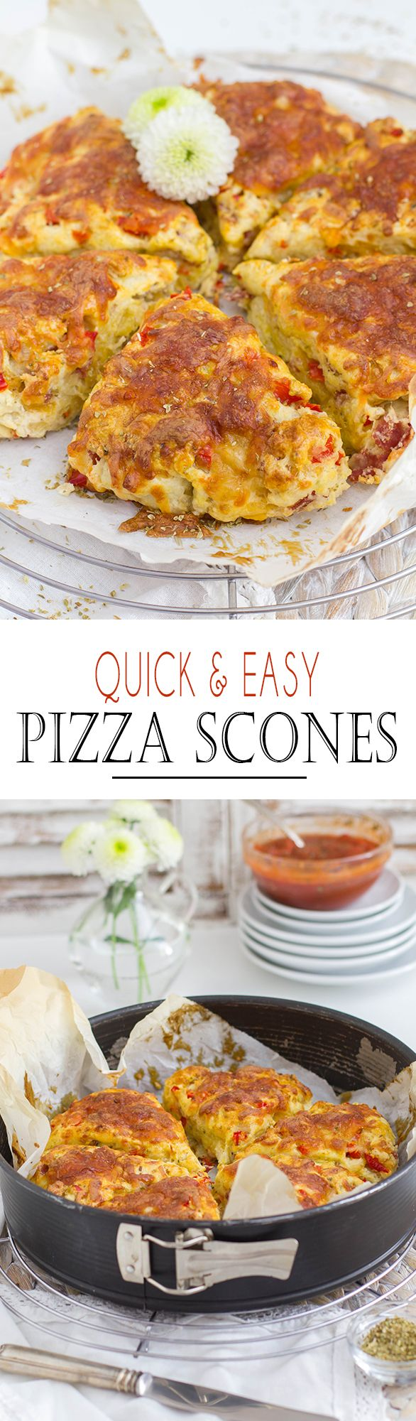 Quick and Easy Pizza Scones with fruity Marinara tomato Sauce | Schnelle und einfache Pizza Scones mit frichtiger Tomatensauce