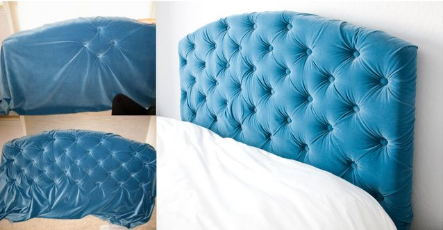 Fabulous DIY blue velvet tufted headboard!!