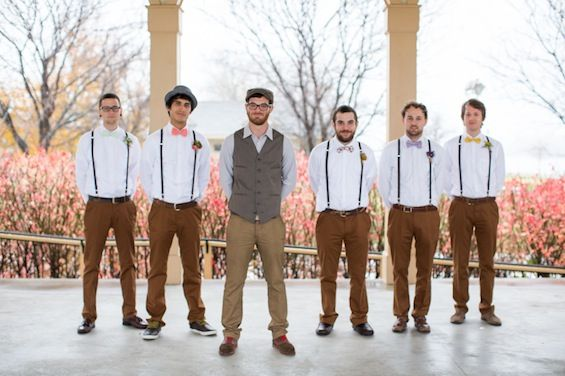This is more for colour. Groomsmen's pants are a great shade. Bow ties look a bit ridiculous and the groom is hipster overload but the rest is good.