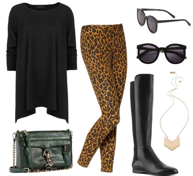 Leopard leggings and black tunic! Everything besides the purse!