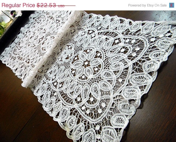 Lace Table Runner White Battenburg Scarf 18 02