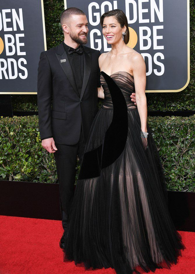 Best Dressed at the Golden Globes 2018: All the Stars in Black - Justin Timberlake and Jessica Biel in Dior