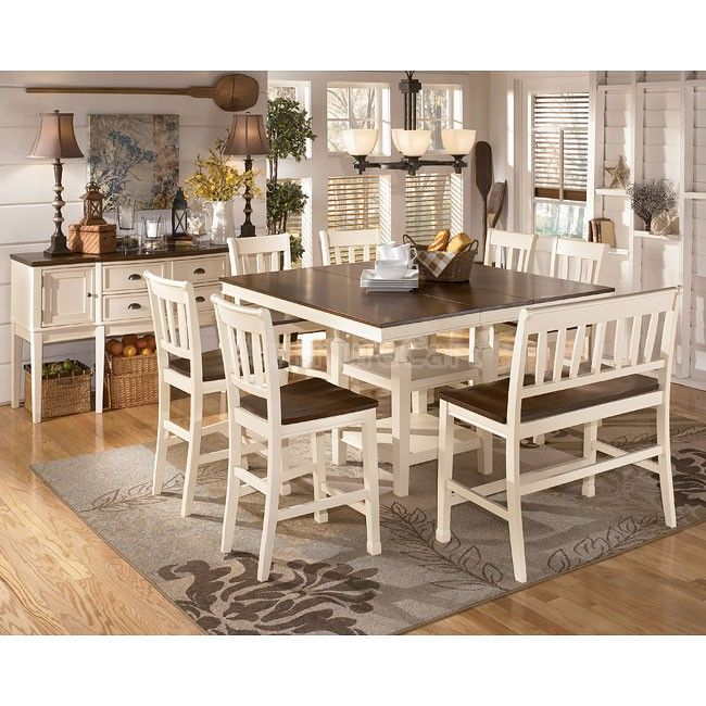 I've had the same kitchen table for 20 years,. Looking for a different style. I think this would be a nice style for us. Whitesburg Counter Height Dining Room Set Signature Design | Furniture Cart.
