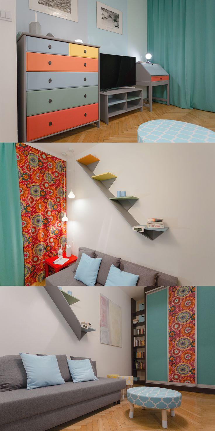 Wielofunkcyjny pokój singielki kochającej kolory, która do tej pory męczyła się w beżach...