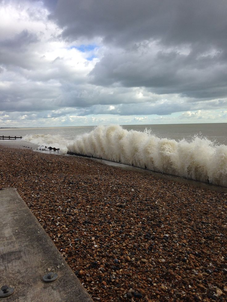 Climping beach at high spring tide 2015