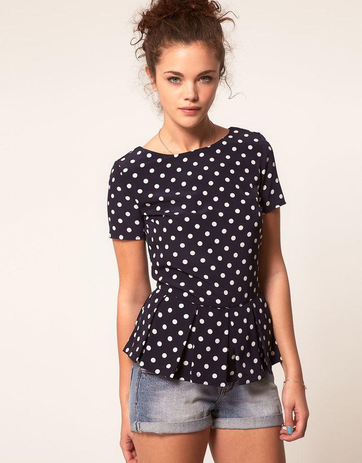 polka dot peplum blouse