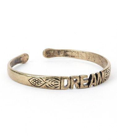 Another great find on #zulily! Antique Gold 'Dream' Cuff #zulilyfinds