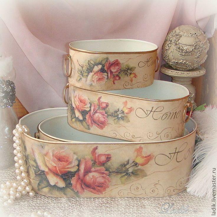 Купить Набор металлических корзинок Винтаж - кашпо, винтаж, для цветов, для хранения, для ванной комнаты, для кухни