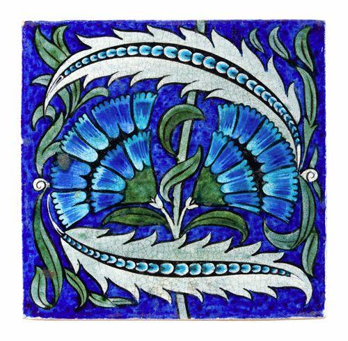 "Aesthetic Movement tile by William De Morgan    Aesthetic Movement Persian style 8"" tile, in turquoise, blue and green Fan.  William De Morgan Chelsea  Circa 1880"
