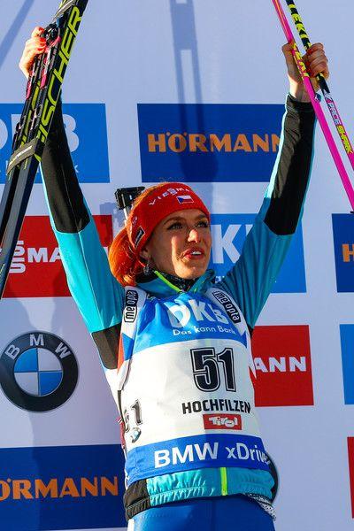 Gabriela Koukalova of Czech Republic wins the silver medal during the IBU Biathlon World Championships Women's Individual on February 15, 2017 in Hochfilzen, Austria.