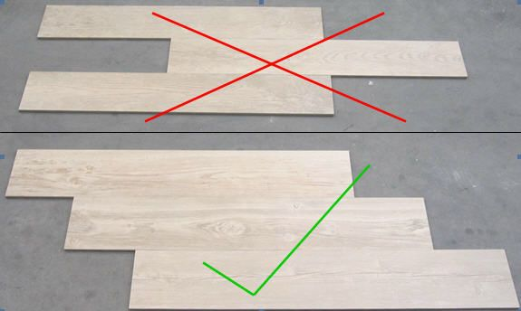 When installing wood grain tiles, stagger them like wood planks would be