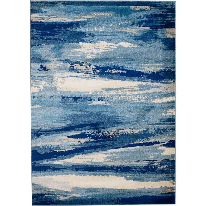 Sawyer Abstract Navy Blue Sky Blue White Area Rug Abstract Beach Wall Decor Area Rugs